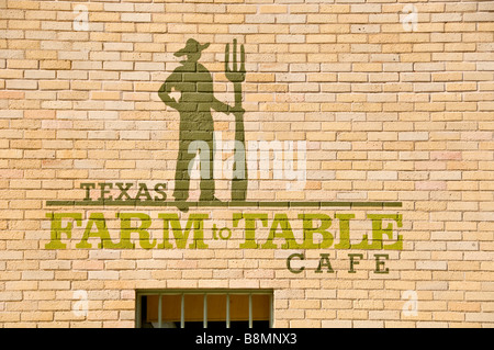 Texas Farm To Table Cafe San Antonio Texas tx near the Pearl Brewery features locally grown produce foods ecofriendly - Stock Image