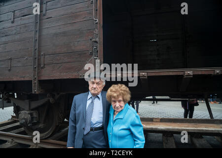 """New York, USA. 31st Mar, 2019. Because they were Jewish, Ray and Leon Kaner, both 92, were transported by German Nazis from Poland to Auschwitz to be murdered. They described their experiences on the plaza in front of the Museum of Jewish Heritage in Battery Park City, Manhattan, New York, where a German National Railroad freight car had just been installed. It is part of the museum's upcoming exhibition, """"Auschwitz. Not long ago. Not far away.' Credit: Terese Loeb Kreuzer/Alamy Live News - Stock Image"""