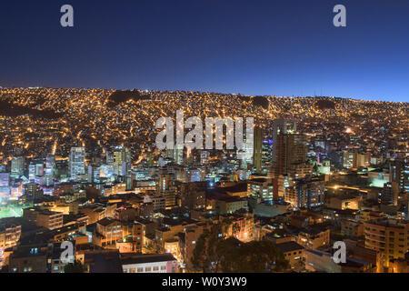 View of the city from Killi Killi viewpoint, La Paz, Bolivia - Stock Image