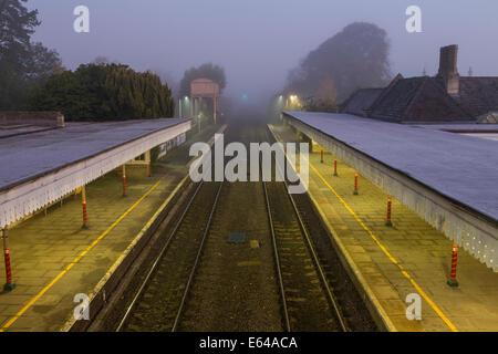 Kemble Railway Station, dawn, Gloucestershire, UK - Stock Image
