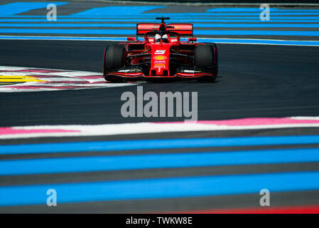Marseille, France. 21st June 2019, Circuit Automobile Paul Ricard, Le Castellet, Marseille, France ; FIA Formula 1 Grand Prix of France, practise sessions; Sebastian Vettel of the Ferrari Team in action during free practice 1 Credit: Action Plus Sports Images/Alamy Live News - Stock Image