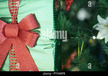 Closeup on green Christmas present box in a hand of woman near Christmas tree - Stock Image