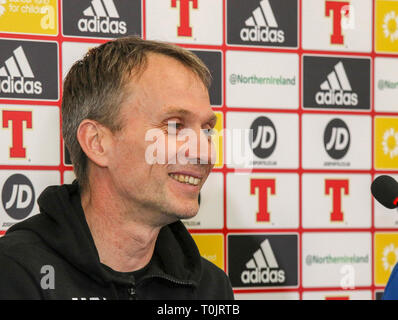 Windsor Park, Belfast, Northern Ireland, UK. 20 March 2019. The Estonian press-call before tomorrow night's Euro 2020 qualifying game in Belfast. Credit: David Hunter/Alamy Live News. - Stock Image