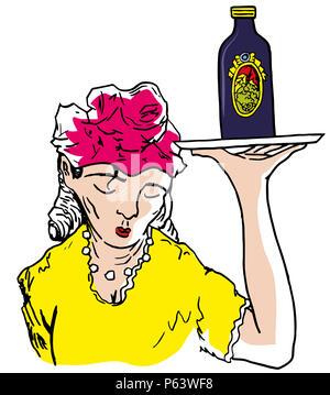 Waiter girl.  Waiter girl bringing a bottle of liquor in the wild west. - Stock Image