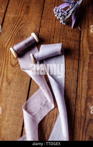 Ribbon Hand made cotton for wedding bouquet - Stock Image