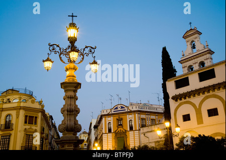 Plaza de Triunfo at dusk, Seville, Spain - Stock Image