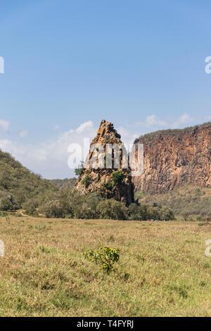 Rocky tower, Hells Gate National Park, Kenya - Stock Image