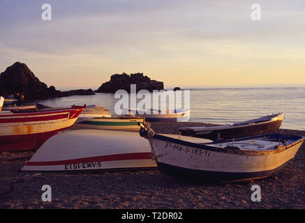 Sunset in the beach. Almuñecar, Granada province, Andalucia, Spain. - Stock Image