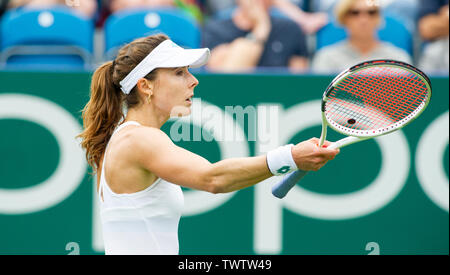 Eastbourne, UK. 23rd June 2019.  Alize Cornet of France questions a line call against Heather Watson of Great Britain during their first round match at the Nature Valley International tennis tournament held at Devonshire Park in Eastbourne . Credit : Simon Dack / TPI / Alamy Live News - Stock Image