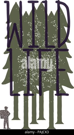 Vintage emblem of tourist-traveler in forest and the inscription 'wild life'. Grunge badge, typogrphic symbol suitable for T-shirts or print. Isolated - Stock Image