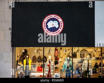 MONTREAL, CANADA - NOVEMBER 5, 2018: Logo Canada Goose Arctic Program on their main shop. Canada Goose is a Canadian Fashion Apparel brand of winter w - Stock Image