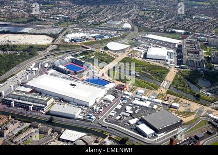 Aerial photography north-east of the Riverbank arena in the Olympic Park, London 2012 Olympic site, Stratford London - Stock Image