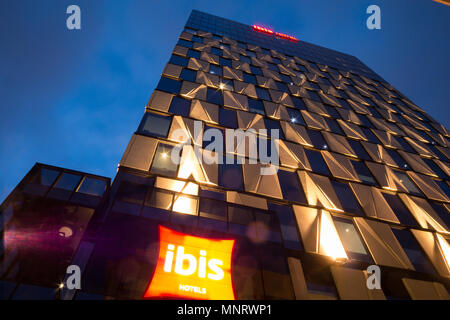 View of the Ibis hotel at dusk in Adelaide, South Australia, Australia. - Stock Image