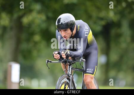 Bristol, UK.  10th September 2016. Tour of Britain stage 7a, time trial.  Russell Downing of JLT Credit:  Neville - Stock Image
