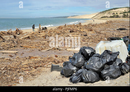 France, South-Western France, Arcachon Bay, rubbish on the beach after a storm - Stock Image