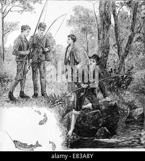 Fishing fly trout river streamn rod circa 1885 - Stock Image