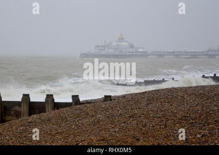 Eastbourne, UK. 4th Feb 2019.UK weather.Wind & rain kept visitors away from a stormy Eastbourne today. East Sussex, UK. Credit: Ed Brown/Alamy Live News - Stock Image