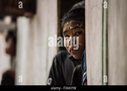 Teenage girl near Pathein, Myanmar. - Stock Image