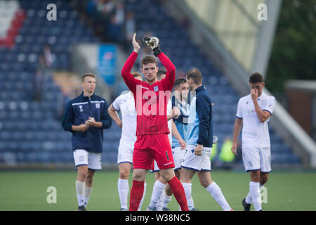 Starks Park, Kirkcaldy, UK. 13th July, 2019. Scottish League Cup football, Raith Rovers versus Dundee; Jack Hamilton of Dundee applauds the fans at the end of the match Credit: Action Plus Sports/Alamy Live News - Stock Image