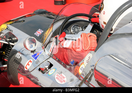 cockpit of a classic racing car with driver - Stock Image