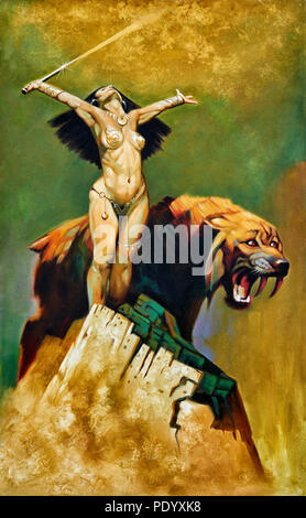 Sureal painting, fantasy art, woman warrior and sabre toothed tiger - Stock Image
