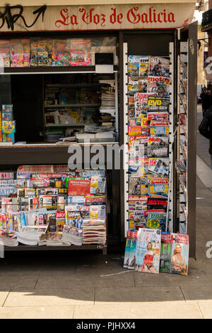 Spain, Galicia, A Coruna, Rua Barrera, La Voz de Galicia, Voice of Galicia, news stand - Stock Image
