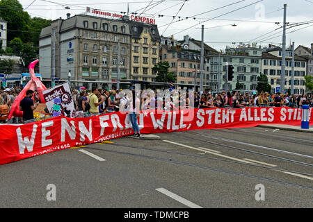 Banner displaying the slogan If women want, everything comes to a standstill, women's strike 14 June 2019, Zurich, Switzerland - Stock Image