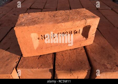 Bricks, Flaxmill Maltings, Ditherington, Shrewsbury, Shropshire, 2017. Detail of new oversized bricks, ready to be used in the renovation of the flax mill's spinning mill. - Stock Image