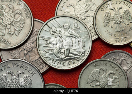 Coins of Russia. Battle of Moscow in 1941 during World War II depicted in the Russian commemorative two ruble coin - Stock Image