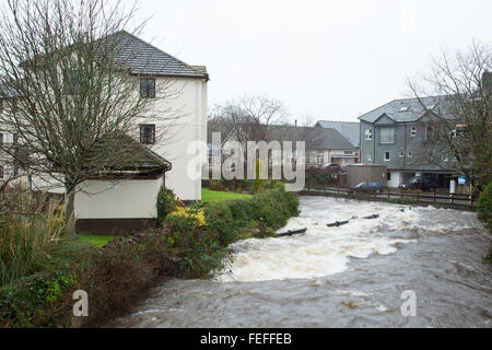 Okehampton, Devon, UK. 6th February, 2016. High river levels at Simmons Park in Okehampton during storm Credit: - Stock Image