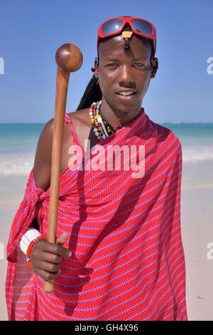 geography / travel, Tanzania, Zanzibar, local on the beach, Additional-Rights-Clearance-Info-Not-Available - Stock Image