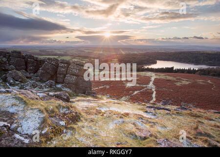 Light hail shower on Sheepstor Dartmoor national park Devon Uk - Stock Image