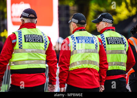 Royal wedding. Police drawn in from wider area for security during the wedding of Meghan Markle and Prince Harry. Heddlu Welsh police. Keeper of peace - Stock Image