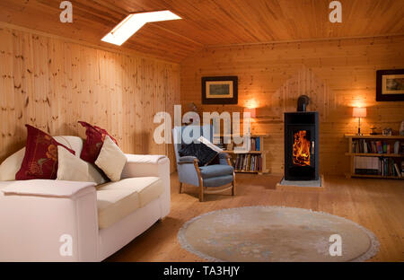 Timber faced loft in a Dormer Bungalow, County Waterford, Ireland - Stock Image