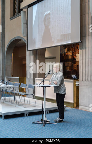 Stockholm, Sweden, September 14, 2018. Seminar about Agda Rössel (1910-2001) Sweden's and the world's first female UN ambassador. Introductory words by Foreign Minister Margot Wallström.The seminar is held at the Ministry of Foreign Affairs.  Credit: Barbro Bergfeldt/Alamy Live News - Stock Image
