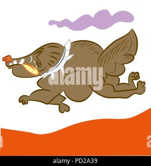 Running dog.  illustration of cute running dog. cartoon dog running very speedly. - Stock Image