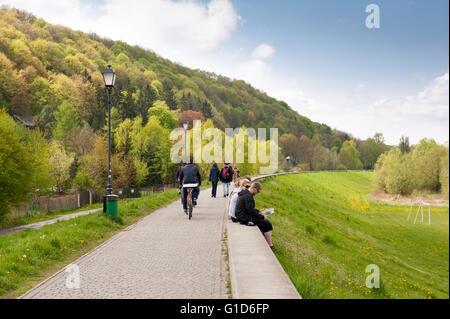 Leisure on boulevards in Kazimierz Dolny by the Vistula River, Poland, Europe, promenade landscape in spring season... - Stock Image