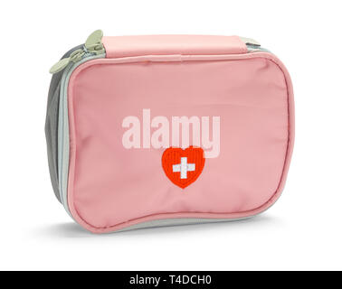 Pink First Aid Kit Isolated on White Background. - Stock Image