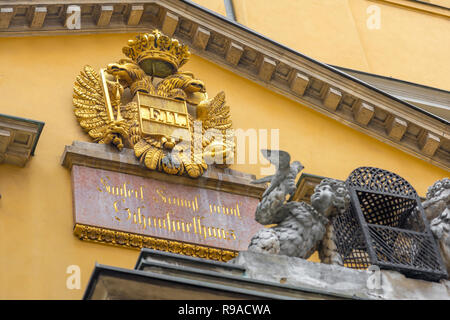 Vienna Habsburg architecture, view of the imperial Habsburg crest above the Papageno Gate of the Theater An Der Wien - Vienna's original opera house. - Stock Image