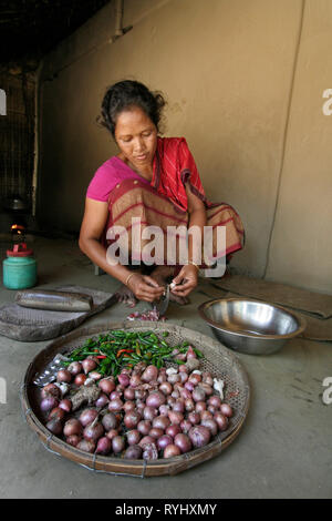 BANGLADESH Alpona Ritchil, a woman of the Garo tribal minority chops onions and garlic, ready for cooking, Haluaghat, Mymensingh region photo by Sean Sprague - Stock Image
