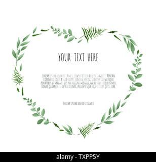 Floral wreath - heart shape. Floral vector frame with branches leaves foliage. - Stock Image