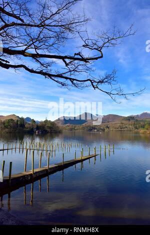 Derwent water Derwentwater lake landing jetty,Keswick,Lake District,Cumbria,England,UK - Stock Image