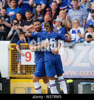 Richmond Park, Dublin, Ireland. 13th July, 2019. Pre season football friendly, St Patricks versus Chelsea; Oliver Giroud of Chelsea FC celebrates scoring his second goal with Kasey Palmer of Chelsea FC for 4-0 Credit: Action Plus Sports/Alamy Live News - Stock Image
