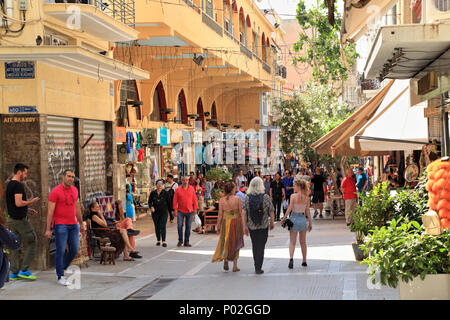Pandrossou street market in Monastiraki, Athens historic center - Stock Image
