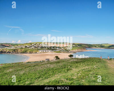 3 June 2018: Bigbury on Sea, Devon, UK - A view across to Bigbury from Burgh Island at low tide. The Burgh Island Hotel is on the right. - Stock Image