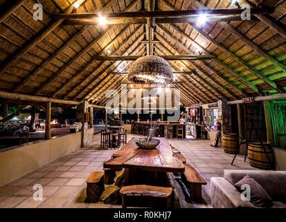 Outdoors lounge area of the Timbavati Safari Lodge - Stock Image