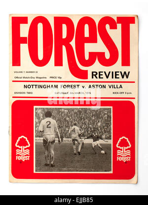 Vintage 1970's English Football Programme Nottingham Forest v Aston Villa - Stock Image