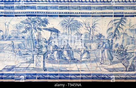 Blue and white azulejo tiles Oriental Far Eastern scene China, University of Evora, Portugal - Stock Image