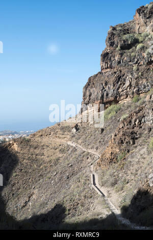 Footpath along the gorge called the Barranco del Infierno, Adeje, Tenerife. - Stock Image