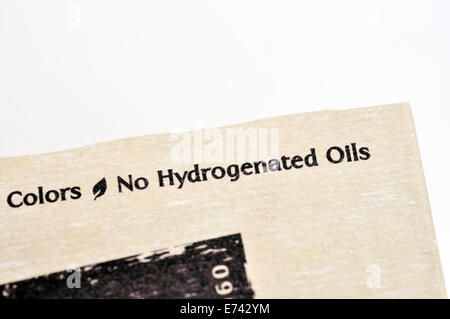 No hydrogenated oils label on food package - Stock Image